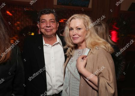 """Stock Image of Dave Flebotte, executive producer, and Cathy Moriarty are pictured at Showtime's """"I'm Dying Up Here"""" premiere after party at Canter's Deli, in Los Angeles"""