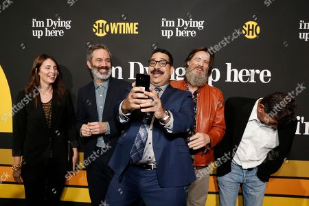 """Erik Griffin, center, and executive producers, Christina Wayne, from left, Michael Aguilar, Jim Carrey, and David Flebotte are pictured at Showtime's """"I'm Dying Up Here"""" premiere at the Directors Guild of America Theater, in Los Angeles"""
