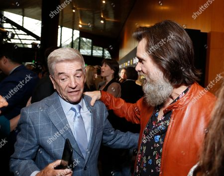 """Tom Dreesen, left, and Jim Carrey are pictured at Showtime's """"I'm Dying Up Here"""" premiere at the Directors Guild of America Theater, in Los Angeles"""
