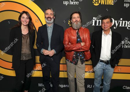 """Executive producers, Christina Wayne, from left, Michael Aguilar, Jim Carrey, and David Flebotte are pictured at Showtime's """"I'm Dying Up Here"""" premiere at the Directors Guild of America Theater, in Los Angeles"""