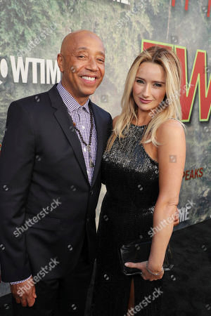 Stock Picture of Russell Simmons and Amy Shiels pictured at Showtime's TWIN PEAKS premiere on in Los Angeles