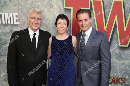 Stock Photo of Creator/Executive Producer David Lynch, Executive Producer Sabrina S. Sutherland and Kyle MacLachlan pictured at Showtime's TWIN PEAKS premiere on in Los Angeles