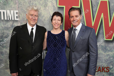 Creator/Executive Producer David Lynch, Executive Producer Sabrina S. Sutherland and Kyle MacLachlan pictured at Showtime's TWIN PEAKS premiere on in Los Angeles