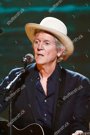 """Rodney Crowell performs at the concert """"Sing me Back Home: The Music of Merle Haggard"""" at the Bridgestone Arena, in Nashville, Tenn"""