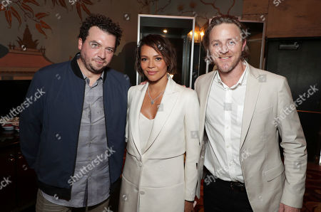 Danny McBride, Carmen Ejogo and Nathaniel Dean seen at Sir Ridley Scott Hands and Footprint Ceremony at the TCL Chinese Theatre, in Los Angeles