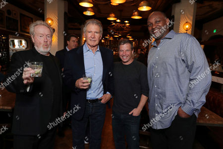Stock Image of Sir Ridley Scott, Harrison Ford, Andrew A. Kosove and Broderick Johnson seen at Sir Ridley Scott Hands and Footprint Ceremony at the TCL Chinese Theatre, in Los Angeles