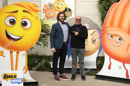 """T.J. Miller and Director Tony Leondis seen at the """"The Emoji Movie"""" photo call at Sony Pictures Animation slate presentation, in Culver City, Calif"""