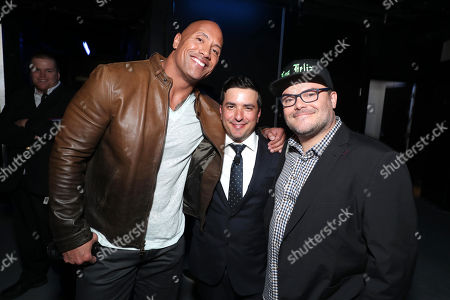 Dwayne Johnson, Josh Greenstein, President of Sony Pictures Worldwide Marketing & Distribution, and Jack Black seen at Columbia Pictures 'Jumanji: Welcome to the Jungle' photo call at 2017 CinemaCon, in Las Vegas
