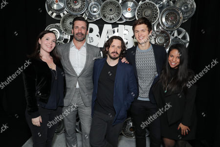 Hannah Minghella, President of TriStar Pictures, Jon Hamm, Writer/Director Edgar Wright, Ansel Elgort and Nicole Brown, SVP Film TriStar Pictures, seen at TriStar Pictures 'Baby Driver' photo call at 2017 CinemaCon, in Las Vegas