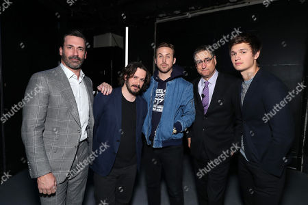 Jon Hamm, Writer/Director Edgar Wright, Ryan Gosling, Thomas Rothman, Chairman of Sony Pictures Entertainment's Motion Picture Group, and Ansel Elgort seen at Sony Pictures Entertainment CinemaCon 2017 Summer and Beyond Presentation, in Las Vegas