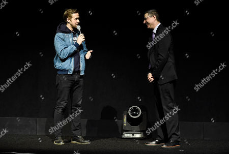 Ryan Gosling and Thomas Rothman, Chairman of Sony Pictures Entertainment's Motion Picture Group, speak at Sony Pictures Entertainment CinemaCon 2017 Summer and Beyond Presentation, in Las Vegas