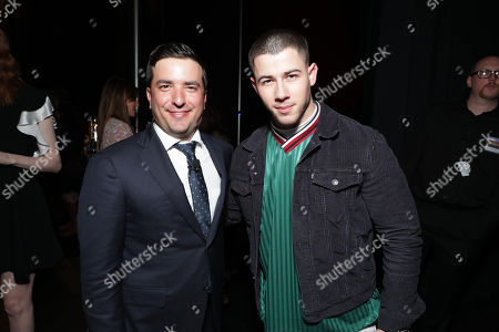 Josh Greenstein, President of Sony Pictures Worldwide Marketing & Distribution, and Nick Jonas seen at Sony Pictures Entertainment CinemaCon 2017 Summer and Beyond Presentation, in Las Vegas