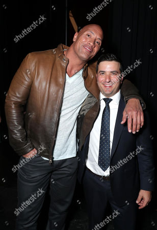Dwayne Johnson and Josh Greenstein, President of Sony Pictures Worldwide Marketing & Distribution, seen at Sony Pictures Entertainment CinemaCon 2017 Summer and Beyond Presentation, in Las Vegas