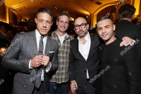 Stock Photo of Theo Rossi, BH Tilt John Hegeman, Director Ricardo de Montreuil and Gabriel Chavarri seen at the after-party of BH Tilt, Imagine Entertainment and Telemundo Films 'Lowriders' on at the Regal LA Live in Los Angeles, Ca