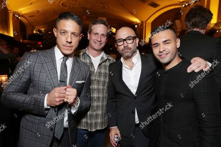 Stock Picture of Theo Rossi, BH Tilt John Hegeman, Director Ricardo de Montreuil and Gabriel Chavarri seen at the after-party of BH Tilt, Imagine Entertainment and Telemundo Films 'Lowriders' on at the Regal LA Live in Los Angeles, Ca