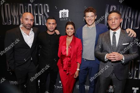 Director Ricardo de Montreuil, Gabriel Chavarri, Eva Longoria, Producer Jason Blum and Theo Rossi seen at a Special Screening of BH Tilt, Imagine Entertainment and Telemundo Films 'Lowriders' on at the Regal LA Live in Los Angeles, Ca
