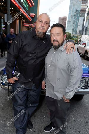 Exec. Producer Estevan Oriol and Exec. Producer Mister Cartoon seen at a SpecialScreening of BH Tilt, Imagine Entertainment and Telemundo Films 'Lowriders' on at the Regal LA Live in Los Angeles, Ca