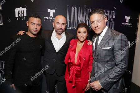 Gabriel Chavarri, Director Ricardo de Montreuil, Eva Longoria and Theo Rossi seen at a Special Screening of BH Tilt, Imagine Entertainment and Telemundo Films 'Lowriders' on at the Regal LA Live in Los Angeles, Ca