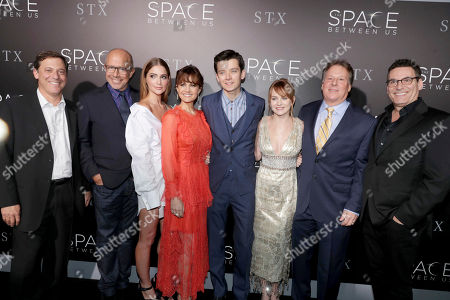 "Adam Fogelson, Chairman, Motion Picture Group, STX Entertainment, Director Peter Chelsom, Janet Montgomery, Carla Gugino, Asa Butterfield, Britt Robertson, Writer/Producer Richard Barton Lewis and Oren Aviv, President and Chief Content Officer for Motion Picture Group, STX Entertainment, seen at STX Entertainment Los Angeles Special Screening of ""The Space Between Us"" at ArcLight Hollywood, in Los Angeles"