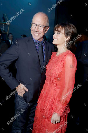 """Director Peter Chelsom and Carla Gugino seen at STX Entertainment Los Angeles Special Screening of """"The Space Between Us"""" after party at ArcLight Hollywood, in Los Angeles"""