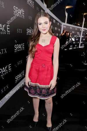 """Chiara Aurelia seen at STX Entertainment Los Angeles Special Screening of """"The Space Between Us"""" at ArcLight Hollywood, in Los Angeles"""