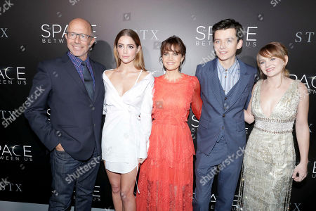 """Director Peter Chelsom, Janet Montgomery, Carla Gugino, Asa Butterfield and Britt Robertson seen at STX Entertainment Los Angeles Special Screening of """"The Space Between Us"""" at ArcLight Hollywood, in Los Angeles"""