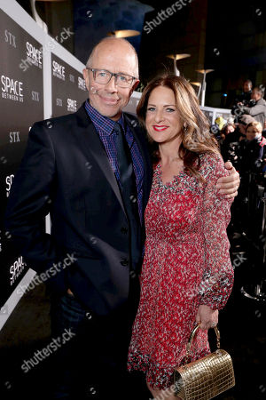 """Director Peter Chelsom and Cathy Schulman, President of Production of STX Entertainment, seen at STX Entertainment Los Angeles Special Screening of """"The Space Between Us"""" at ArcLight Hollywood, in Los Angeles"""