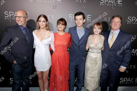 "Director Peter Chelsom, Janet Montgomery, Carla Gugino, Asa Butterfield, Britt Robertson and Writer/Producer Richard Barton Lewis seen at STX Entertainment Los Angeles Special Screening of ""The Space Between Us"" at ArcLight Hollywood, in Los Angeles"
