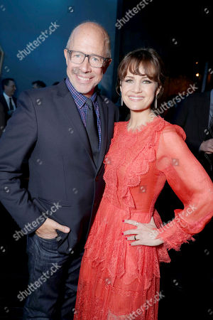 """Stock Picture of Director Peter Chelsom and Carla Gugino seen at STX Entertainment Los Angeles Special Screening of """"The Space Between Us"""" after party at ArcLight Hollywood, in Los Angeles"""