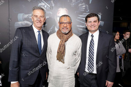 """Stock Picture of Steve Beeks, Lionsgate's Co-Chief Operating Officer and Co-President, Motion Picture Group, Laurence Fishburne, and Jason Constantine, President of Acquisitions and Co-Productions of Lionsgate Motion Picture Group, seen at Summit Entertainment, a Lionsgate Company, Los Angeles Premiere of """"John Wick Chapter 2"""" at ArcLight Hollywood, in Los Angeles"""