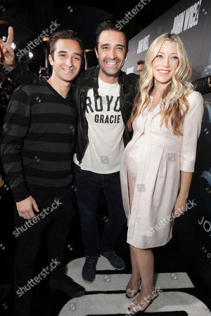 "Georges Marini, Gilles Marini and Sarah Roemer seen at Summit Entertainment, a Lionsgate Company, Los Angeles Premiere of ""John Wick Chapter 2"" at ArcLight Hollywood, in Los Angeles"