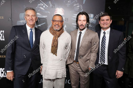 """Steve Beeks, Lionsgate's Co-Chief Operating Officer and Co-President, Motion Picture Group, Laurence Fishburne, Keanu Reeves and Jason Constantine, President of Acquisitions and Co-Productions of Lionsgate Motion Picture Group, seen at Summit Entertainment, a Lionsgate Company, Los Angeles Premiere of """"John Wick Chapter 2"""" at ArcLight Hollywood, in Los Angeles"""