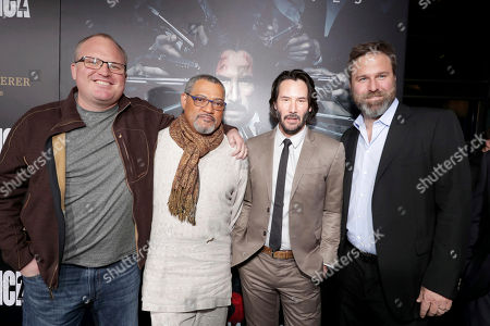 "Screenwriter Derek Kolstad, Laurence Fishburne, Keanu Reeves and Producer Basil Iwanyk seen at Summit Entertainment, a Lionsgate Company, Los Angeles Premiere of ""John Wick Chapter 2"" at ArcLight Hollywood, in Los Angeles"
