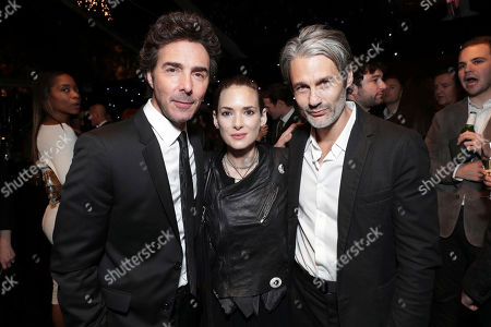 Shawn Levy, Winona Ryder and Scott Mackinlay Hahn seen at Ted Sarandos' 2017 Netflix Screen Actors Guild Nominee Toast, in Los Angeles, CA