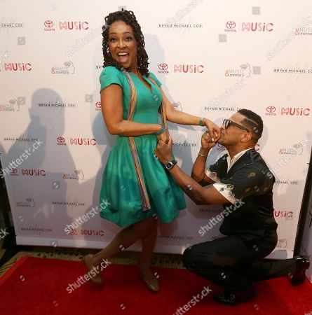 Siedah Garrett and Maxwell are seen at The 13th Annual Breakfast Club Brunch powered by Toyota at Beverly Wilshire Hotel, in Beverly Hills, CA