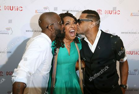 Bryan-Michael Cox, Siedah Garrett and Maxwell are seen at The 13th Annual Breakfast Club Brunch powered by Toyota at Beverly Wilshire Hotel, in Beverly Hills, CA