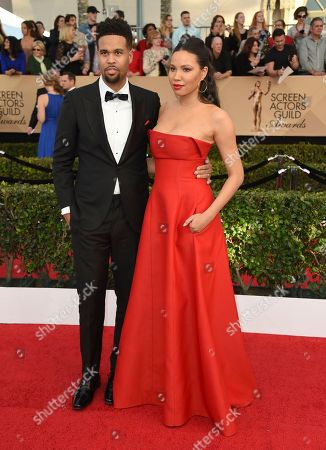 Josiah Bell, left, and Jurnee Smollett-Bell arrive at the 23rd annual Screen Actors Guild Awards at the Shrine Auditorium & Expo Hall, in Los Angeles