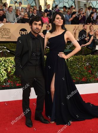 Kunal Nayyar, left, and Neha Kapur arrive at the 23rd annual Screen Actors Guild Awards at the Shrine Auditorium & Expo Hall, in Los Angeles