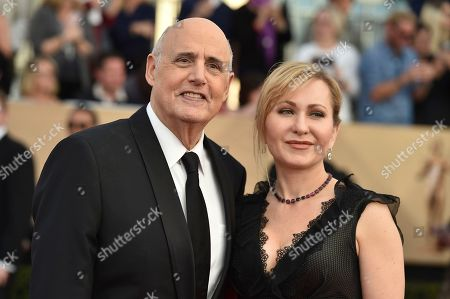 Jeffrey Tambor, left, and Kasia Ostlun arrive at the 23rd annual Screen Actors Guild Awards at the Shrine Auditorium & Expo Hall, in Los Angeles