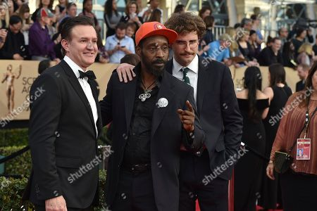 Joe Chrest, from left, Rob Morgan, and John Paul Reynolds arrive at the 23rd annual Screen Actors Guild Awards at the Shrine Auditorium & Expo Hall, in Los Angeles