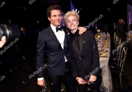 James Marsden, left, and Jack Marsden attend the 23rd annual Screen Actors Guild Awards at the Shrine Auditorium & Expo Hall, in Los Angeles