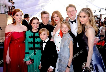 Stock Image of Annalise Basso, from left, Samantha Isler, Nicholas Hamilton, Charlie Shotwell, Trin Miller, Shree Crooks, George MacKay, and Erin Moriarty arrive at the 23rd annual Screen Actors Guild Awards at the Shrine Auditorium & Expo Hall, in Los Angeles