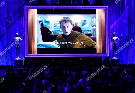 Anton Yelchin is pictured on screen during an In Memoriam tribute at the 23rd annual Screen Actors Guild Awards at the Shrine Auditorium & Expo Hall, in Los Angeles