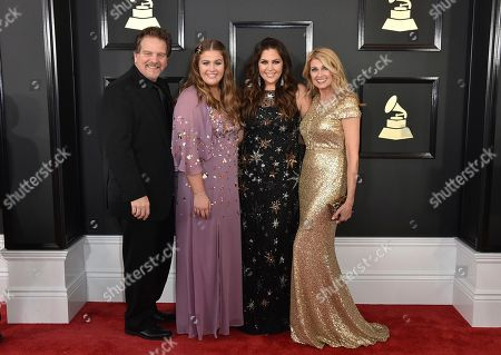 Lang Scott, from left, Rylee Scott, Hillary Scott, and Linda Davis arrive at the 59th annual Grammy Awards at the Staples Center, in Los Angeles