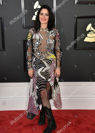 Stock Image of Juliette Larthe arrives at the 59th annual Grammy Awards at the Staples Center, in Los Angeles