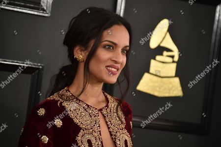 Anoushka Shankar arrives at the 59th annual Grammy Awards at the Staples Center, in Los Angeles