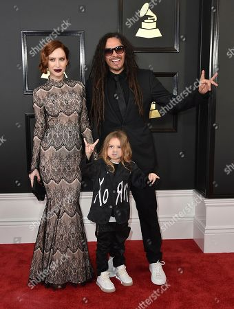 Stock Picture of Evis X. Shaffer, from left, D'Angelo Shaffer, and James Shaffer arrive at the 59th annual Grammy Awards at the Staples Center, in Los Angeles
