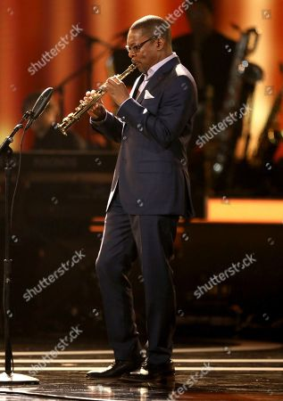Ravi Coltrane performs at the 59th annual Grammy Awards, in Los Angeles