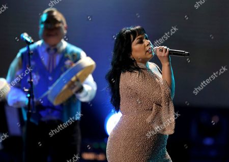 Carla Morrison performs at the 59th annual Grammy Awards, in Los Angeles