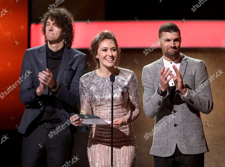 Luke Smallbone, from left, Lauren Daigle, and Joel Smallbone speak at the 59th annual Grammy Awards, in Los Angeles